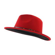 22ae1353c32 Unisex Flat Brim Wool Felt Fedora Hats with Belt Red Black Patchwork Jazz  Formal Hat Panama
