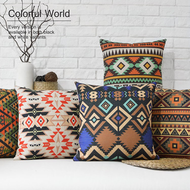 Nordic Geometric pillow Bohemian cushions lumbar Waist pillows thick linen pillowcase sofa cushion home decorative Pillows