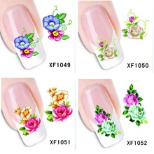 beauty flowers nails sticker nail art water transfer decals stickers pegatinas de unas guia opp pack