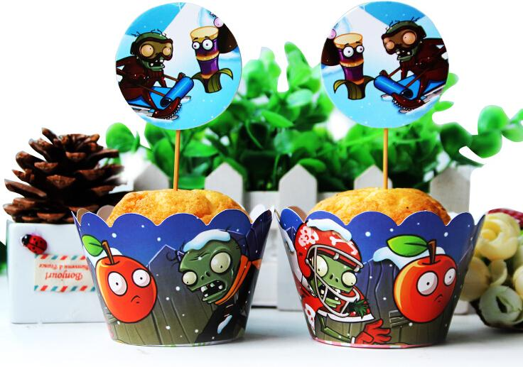 Free Shipping Plants VS Zombies Cupcake Wrappers