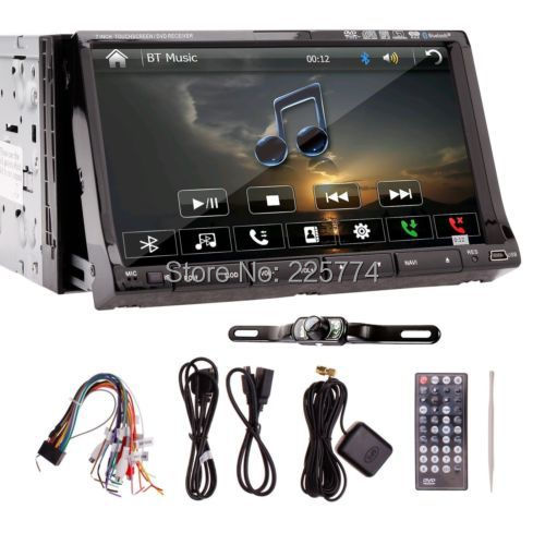 GPS Navigation Double 2 Din Radio TV Music BT Car Stereo DVD VCD Player Receiver