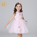 Nimble Summer Princess Girls Dress Thin Light Organza Appliques Flowers Sashes Dresses for Party Wedding