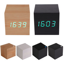 High Quality Brand New Modern Wooden USB/AAA Powered Digital LED Desk Alarm Clock Thermometer Free Shipping MTY3