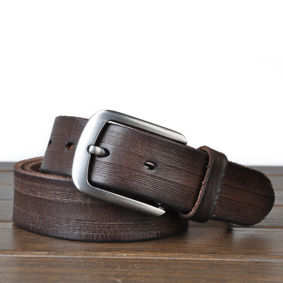 Genuine Leather Belts For Men, % Full Grain Fashion Men Belt, With Antique Alloy Buckle.