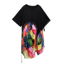 Женское платье с принтом EAM, платье большого размера из шифона с круглым вырезом и коротким рукавом, весна-лето 2020(Китай)