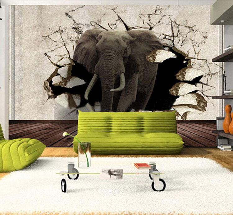 3d tier tv hintergrund tapete wandbild nashorn elefanten 3d stereo gro e wandbilder tapeten. Black Bedroom Furniture Sets. Home Design Ideas