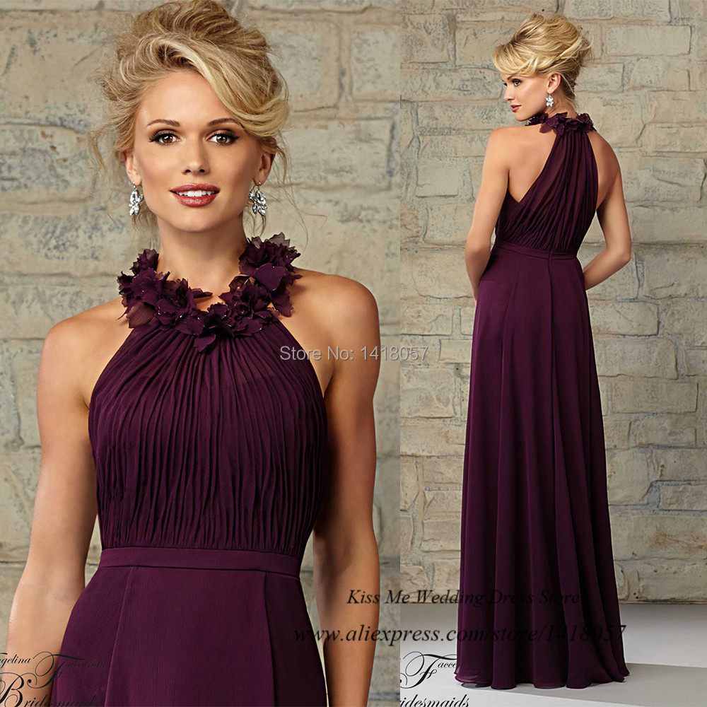 Long Gowns For Wedding Guests: Vestido-Madrinha-de-Casamento-Purple-Bridesmaid-Dresses