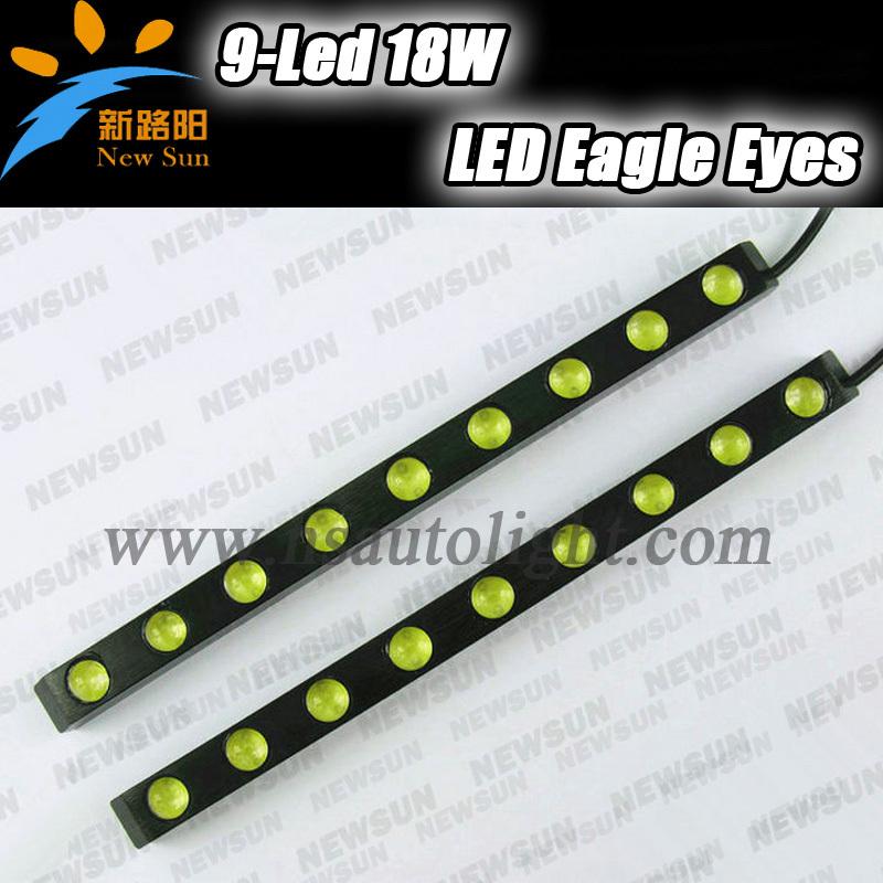 9 светодиодные полосы 18 Вт крючке DRL из светодиодов универсальные дневными ходовыми огнями водонепроницаемый хвост резервного копирования обратный свет