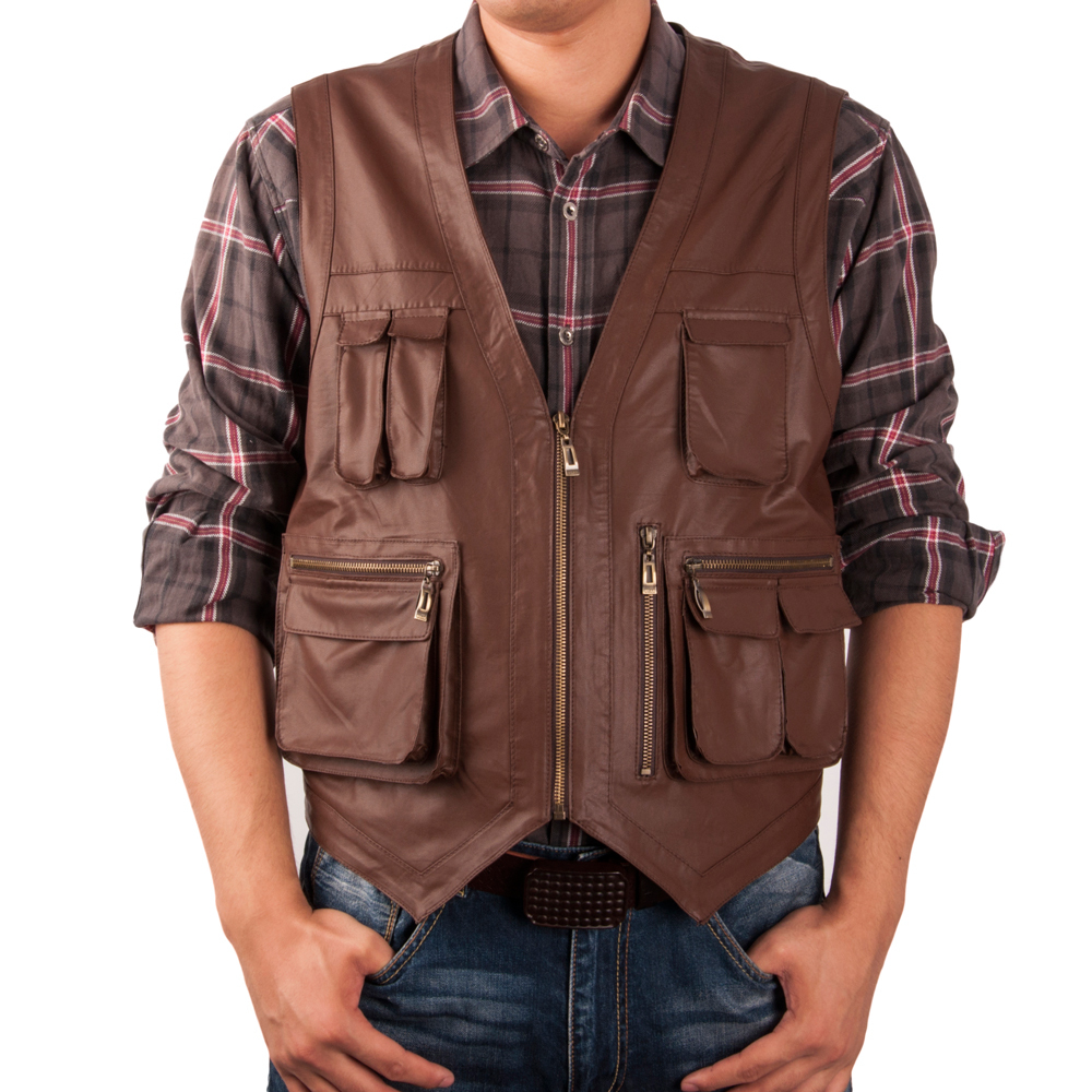 World Faux Leather Vest man vest waistcoat men vest sleeveless jacket ...