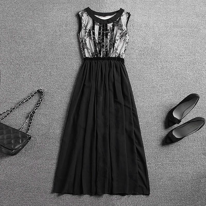 robe 2015 t style robe longue design de la marque l gante broderie mince coton noir maxi robe. Black Bedroom Furniture Sets. Home Design Ideas