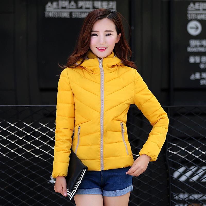2015 новое поступление зима женщин желтый пуховик дамы пальто с капюшоном парка пальто молния abrigo mujer m,L Xl, Xxl, Xxxl