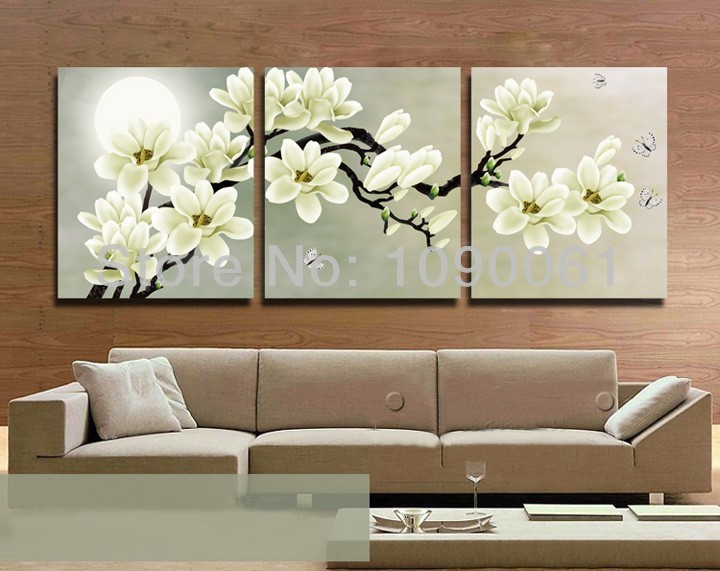 Hand painted flower painting canvas 3 piece wall decor - Cheap wall decals for living room ...