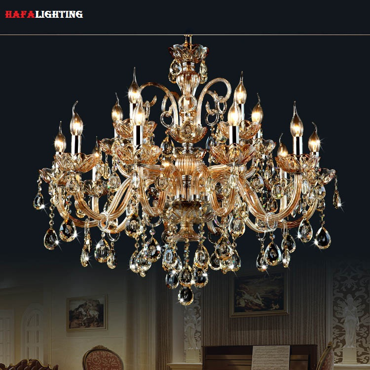 Free Shipping 15 Arms crystal chandelier Light Luxury Modern crystal Lamp chandelier Lighting champage Crystal Top