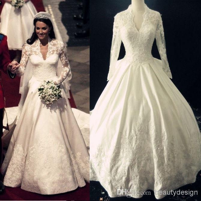 20 Elegant Simple Wedding Dresses Of 2015: 2015 Spring Summer A Line Long Sleeve Wedding Dresses