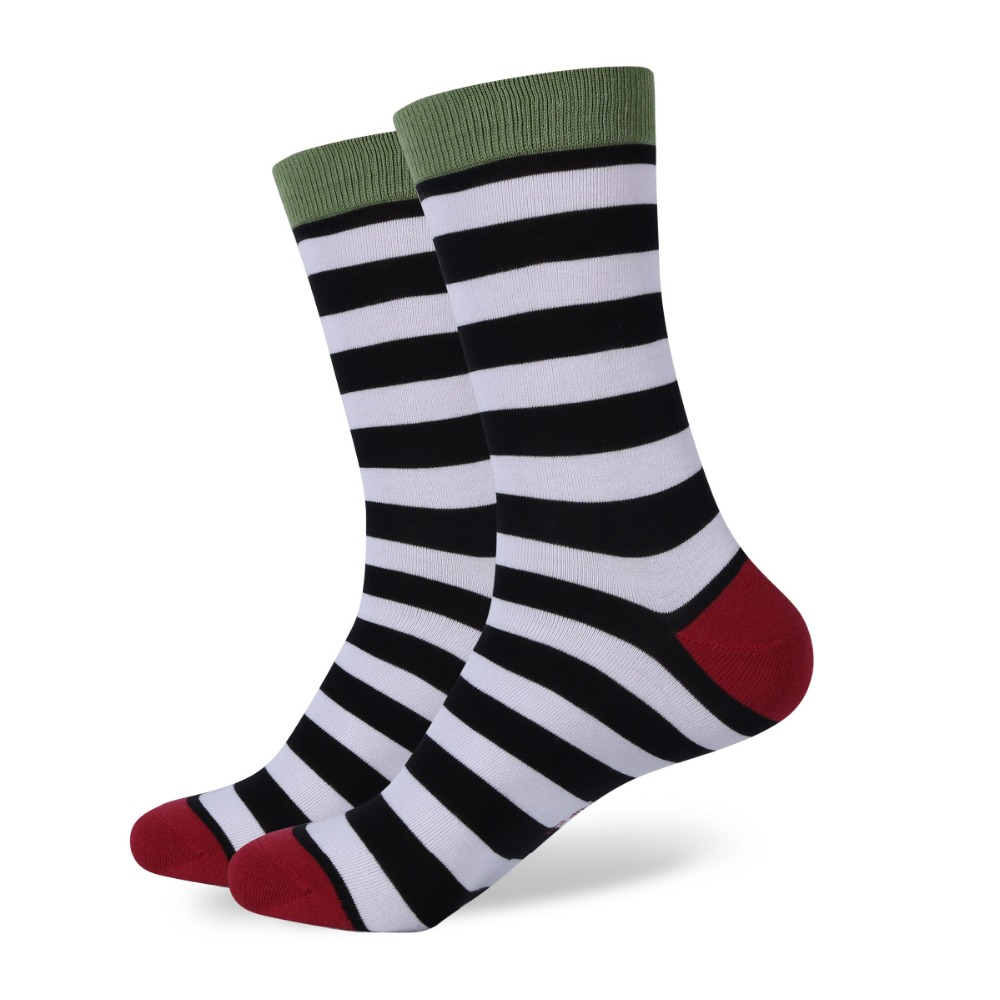 New style colorful Stripes men s combed cotton socks brand man dress knit socks Wedding Gifts