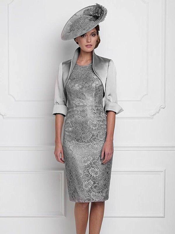 nouveau design argent genou longueur m re de la mari e tenue de soir e de mariage robe l gante. Black Bedroom Furniture Sets. Home Design Ideas