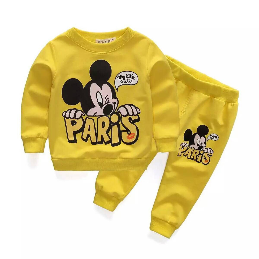 HOT 2016 Spring Baby Boys Fashion Sport Suit Kids Girls Clothes Mickey Minnie Mouse Sweater Trousers