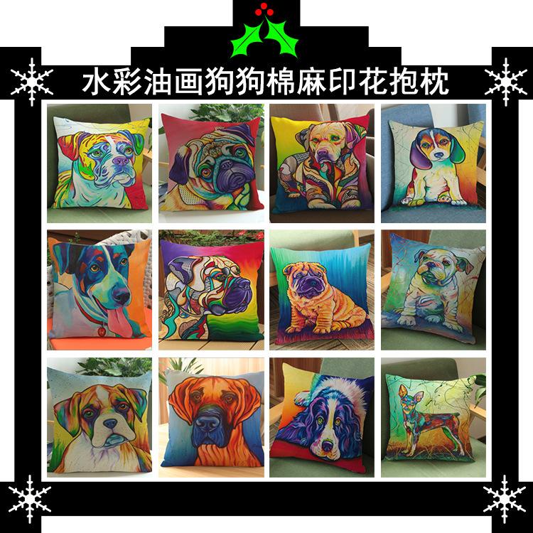 Nordic style Animal Pillow Painting French Bulldog and Pug Cushion Decorative Pillows Home Decor Throw Pillow Cushion 45X45