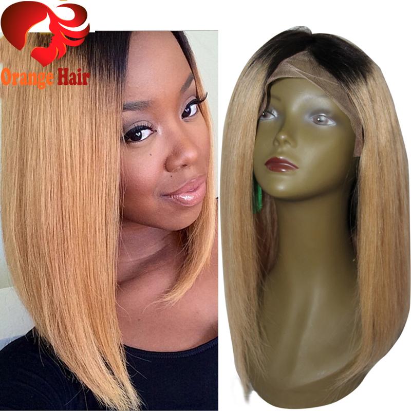 Honey Blonde Ombre Human Hair Bob Wig Right Side Part Dark