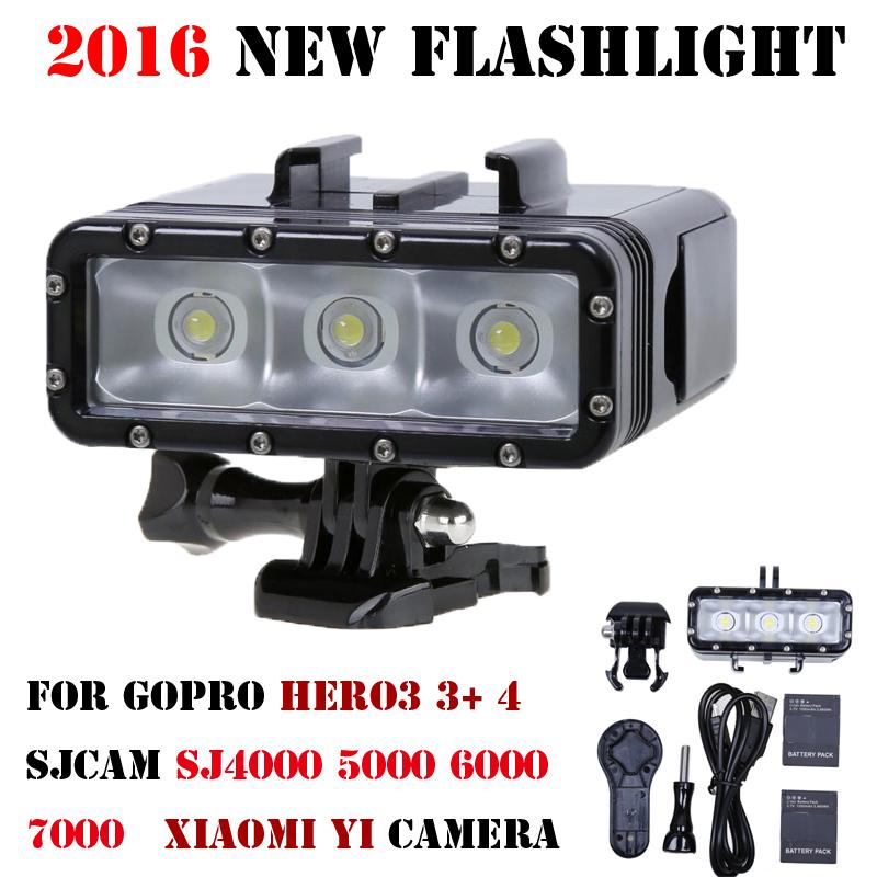 2016 Новый Go Pro Дайвинг фонарик лампы Водонепроницаемый LED Flash Video Light Для GoPro Hero 4/3 +, SJCAM SJ4000 6000 SJ7000/Xiaomi Yi