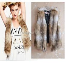 S-3XL Hot Sale 2014 Autumn Winter Female Faux Fur Vest Women Sleeveless Outerwear Plus Size Women Coat Coletes Femininos Sale