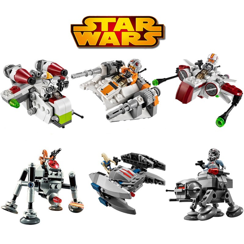 Bela 6pcs/lot Star Wars MICROFIGHTERS Republic Gunship ARC-170 Starfighter Building Blocks Model Toys Compatible With UKlego