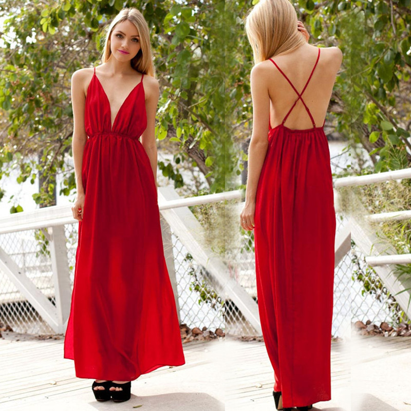 08bb7eec35 Wholesale High Split Women Dress Evening Party Elegant Long Dress Sexy Red  Spaghetti Strap Backless Pleated Maxi Dress Ball Dress Club Dress From  Vaiwen