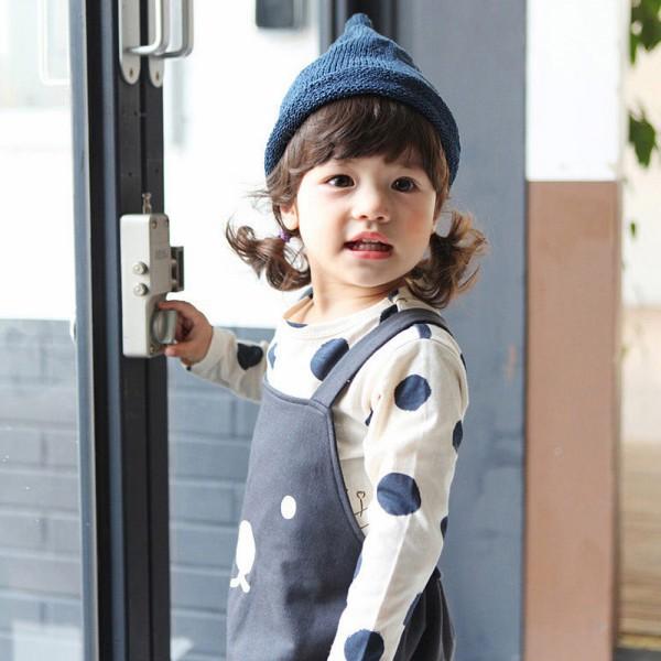 0-3Y дети девочки мальчики мужская горошек с длинным рукавом блузка топы хлопок основные тис одежда PY1
