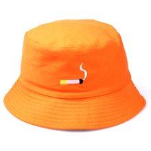 d532bb041dd04b Cigarette Shape Embroidery Fisherman Hat For Men Women Bucket Hat Hip Hop  Flat Hat Black Orange