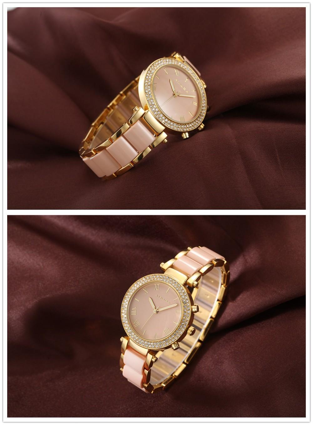 c5dc711010d4b Fashion Women Casual Watches Ladies Wrist Watch Gold Bracelet Simulated  Ceramic Dress Diamond Quartz-watch relogio feminino