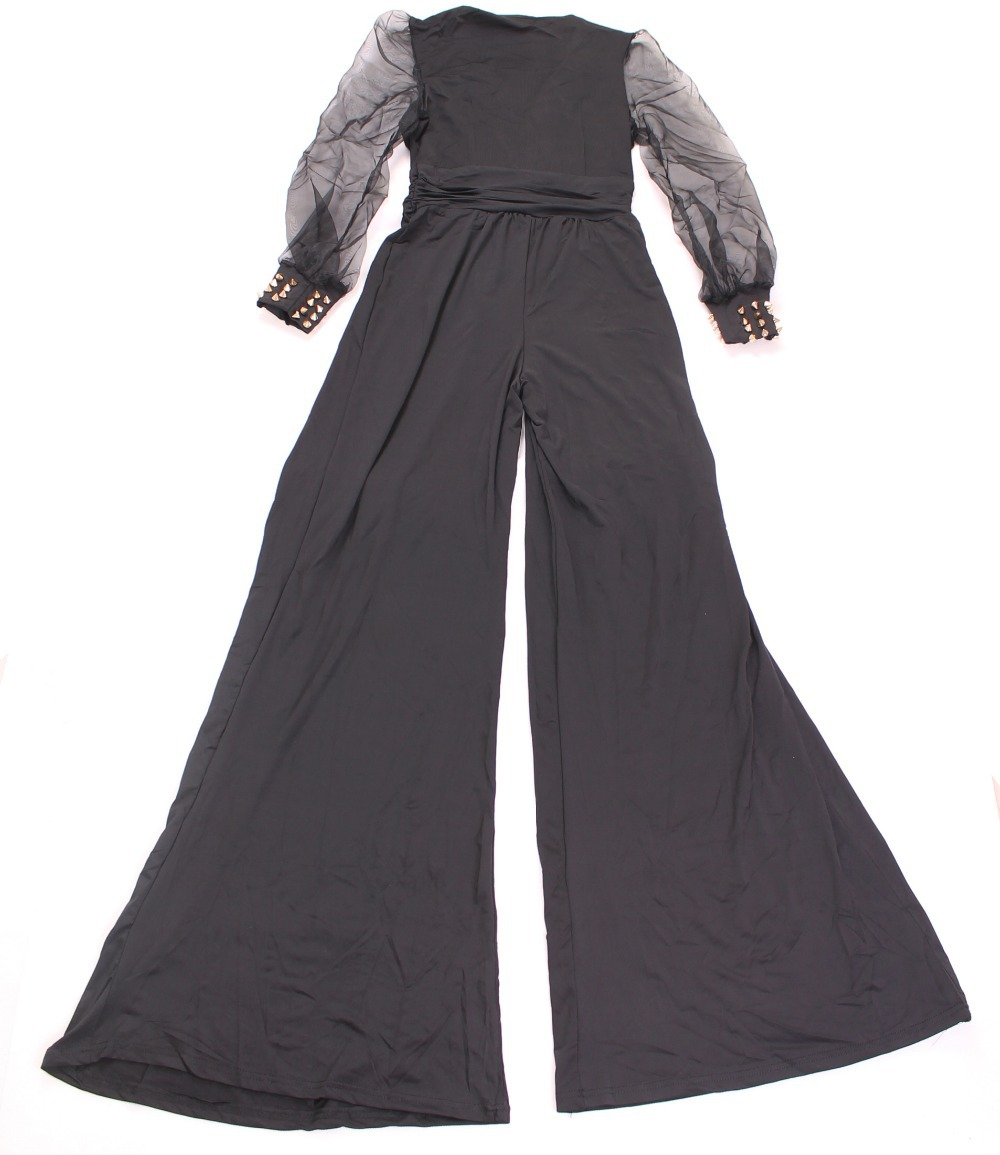 279de08ef0e0 Black Embellished Cuffs Long Mesh Sleeves Jumpsuit LC6650   Nice ...