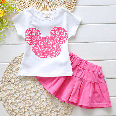 Cute Girls Clothes Baby Girls Summer Short Sleeve T-Shirt Top and Pantskirt 2PCS Kawaii Kids Girls Children Set