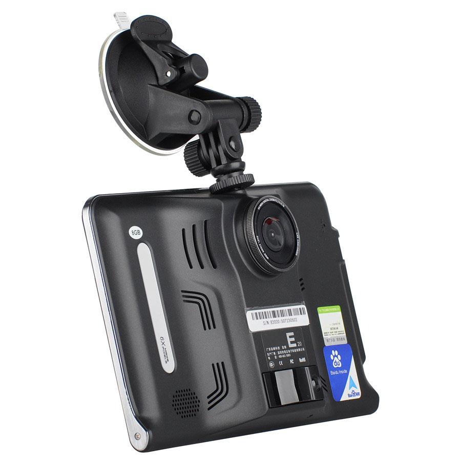 New E20 7 inch Android 4.4 512M 8GB Car GPS Navigation GPS Navigator Car DVR Tablet PC Radar Detector Russian Europe Maps