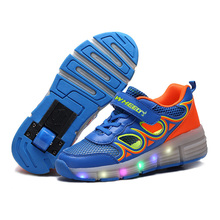 Summer Breathable LED Heelys Shoes Children wheelys Sneakers Kids Roller Shoes With Wheels for Boys Girls
