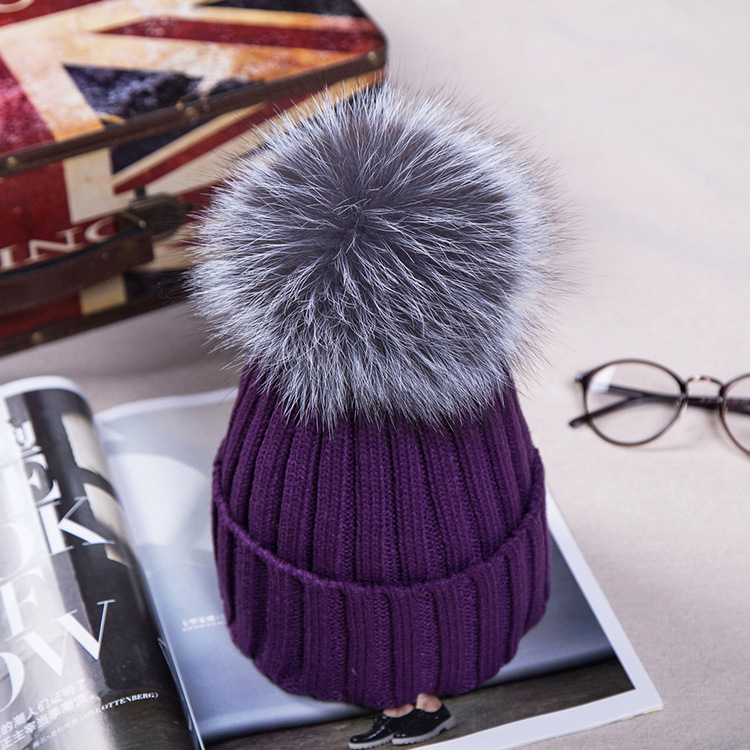 15cm Real Fox Fur Ball Cap Pom Poms Winter Hat For Women Girl  s Wool Hat  Knitted Cotton Beanies Cap Brand Thick New Female Crochet Beanie Beanies For  Girls ... 11e843a2510
