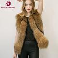 Sinofashion 2016 European Autumn Winter Faux Fur Raccoon Fur Vest Jacket Vest 3XL