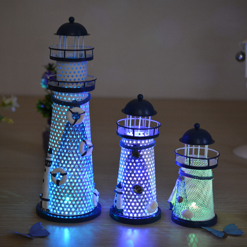 S/M/L Europe Led Light Llighthouse Of Mediterranean Metal Crafts Blue Sea Sailboat Tower Vintage Home Decor Free Shipping