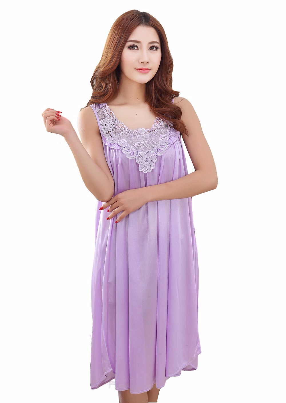 ad56e8f08 ... long silk nightgowns nightdress dress for women plus size ladies  lingerie maternity sleepwear dresses pregnant nightwear