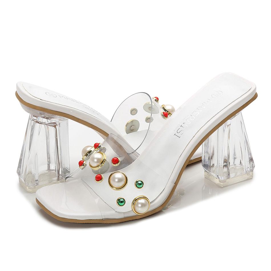 Босоножки на высоком каблуке; летняя модная женская обувь на не сужающемся книзу массивном каблуке с квадратным носком; элегантная женская ...(Китай)
