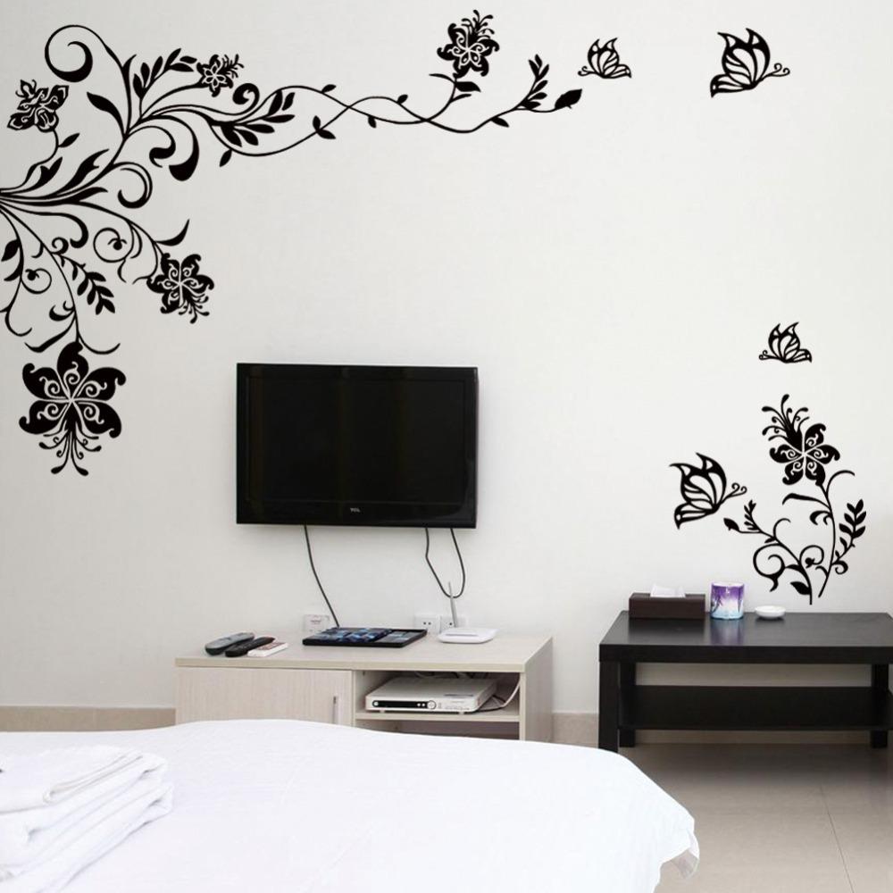 Butterfly Vine Flower Wall Decals Vinyl Art Stickers