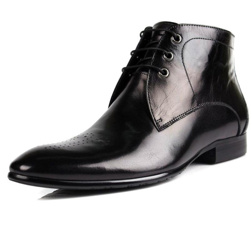 fashion blue /black mens ankle boots genuine leather mens