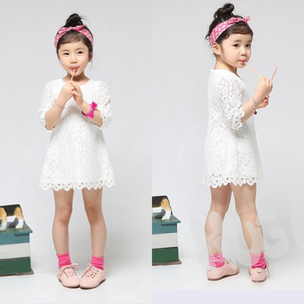 2 7Y Sweet Kids Baby Girl Sets Princess Dress Clothing Floral Flower Lace Party Dress
