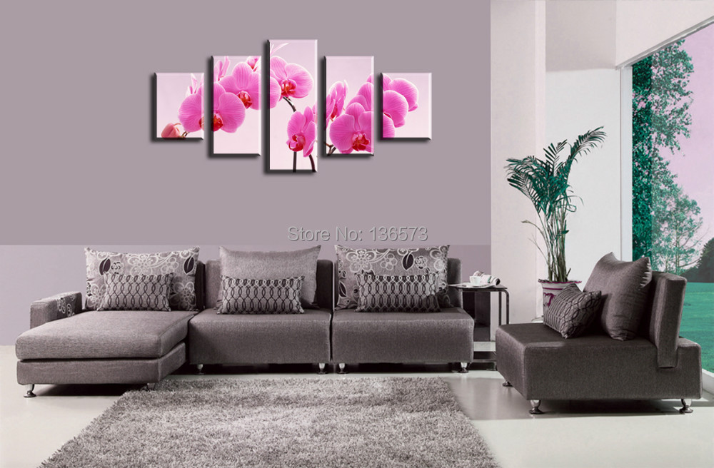 Hand painted canvas painting modern decorative flowers - Cheap wall decals for living room ...