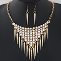 ZA ra Gold Silver Plated Alloy Rivet Tassels Pendant CZ Rhinestone Collars Necklace Women Earring Jewelry
