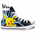 Wen Design Custom Hand Painted Shoes Anime Pokemon Ash Pikachu Pocket Monster Gifts High Top Men