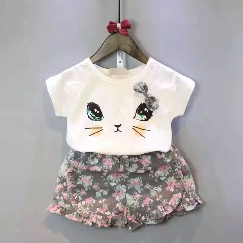 Baby girls clothing set kids cartoon clothes set for girls high quality cotton short sleeve short