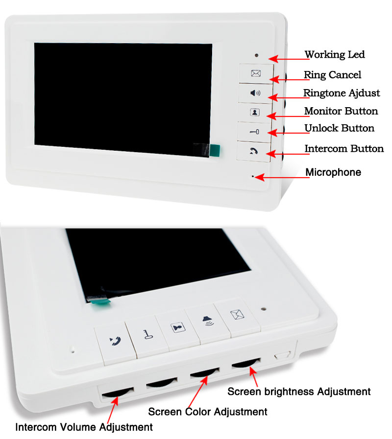 7 Wired Video Door Phone Intercom System Kit Set With