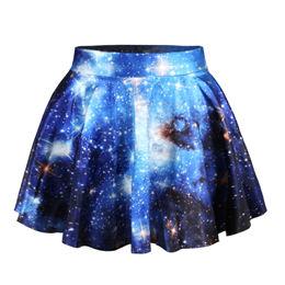 Женский костюм-двойка Echoine, Жилеты Пуловеры с цифровым принтом, звездное небо, модная плиссированная юбка с круглым вырезом, тонкая женская ...(Китай)