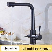 Quyanre хромированные водопроводные краны, смесители для кухни, смеситель, фильтр для питьевой воды, 3-полосный кухонный кран, кран для раковины...(Китай)