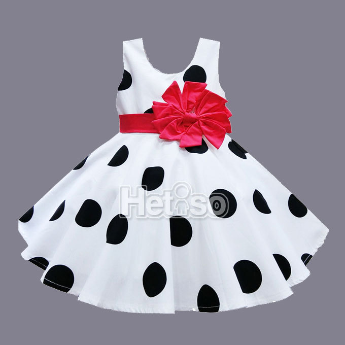 594acbe4751d2 6M 5T Baby Girl Clothes Black Dot Red Big Bow Princess summer baby dress  kids clothes